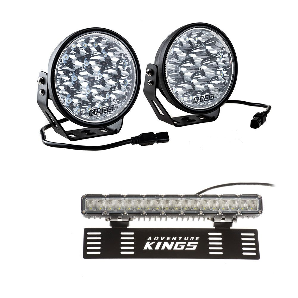 "Adventure Kings Domin8r Xtreme 7"" LED Driving Lights (Pair) + 15"" Numberplate LED Light Bar"
