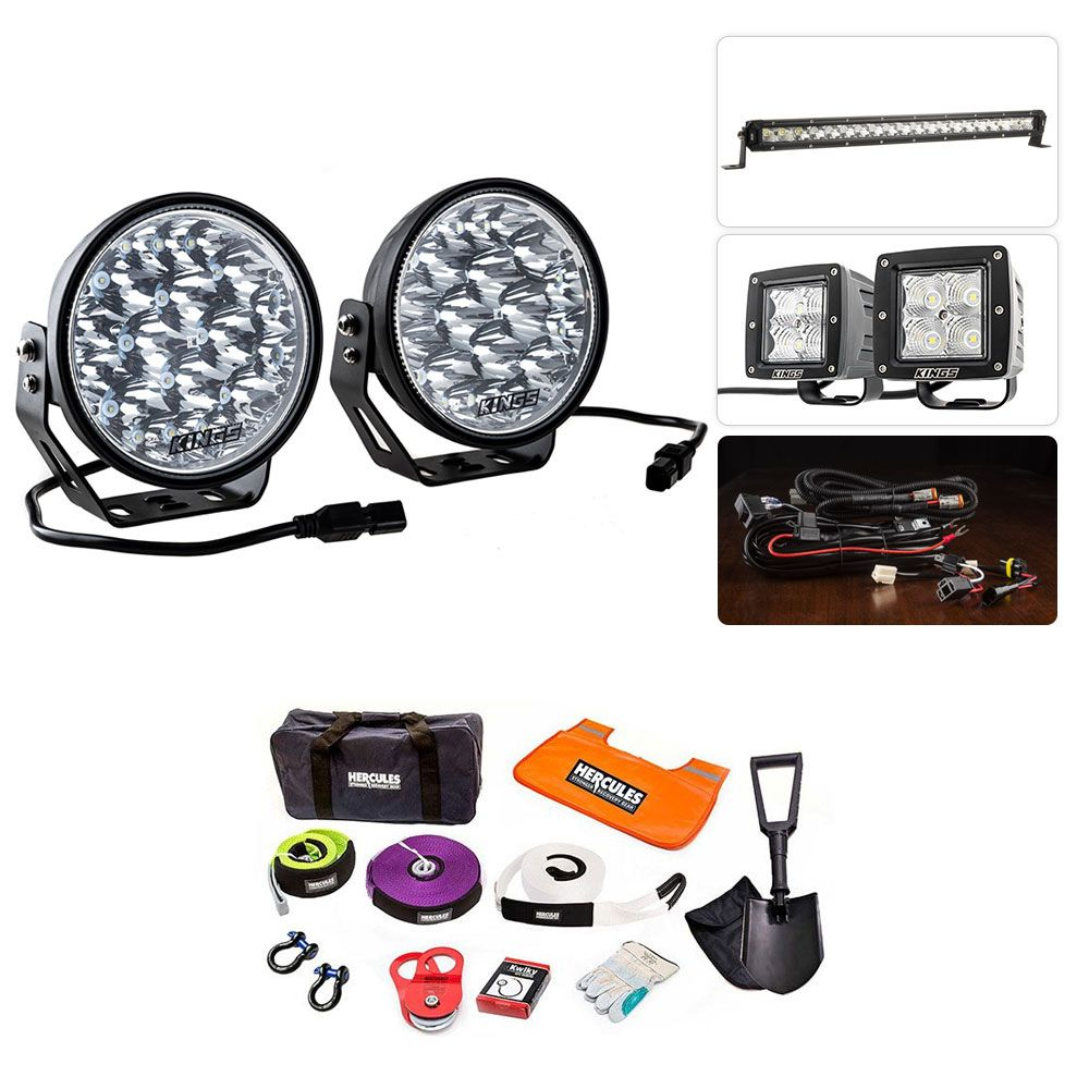 """Adventure Kings Domin8r Xtreme 7"""" Ultimate LED Light Pack + Hercules Complete Recovery Kit"""