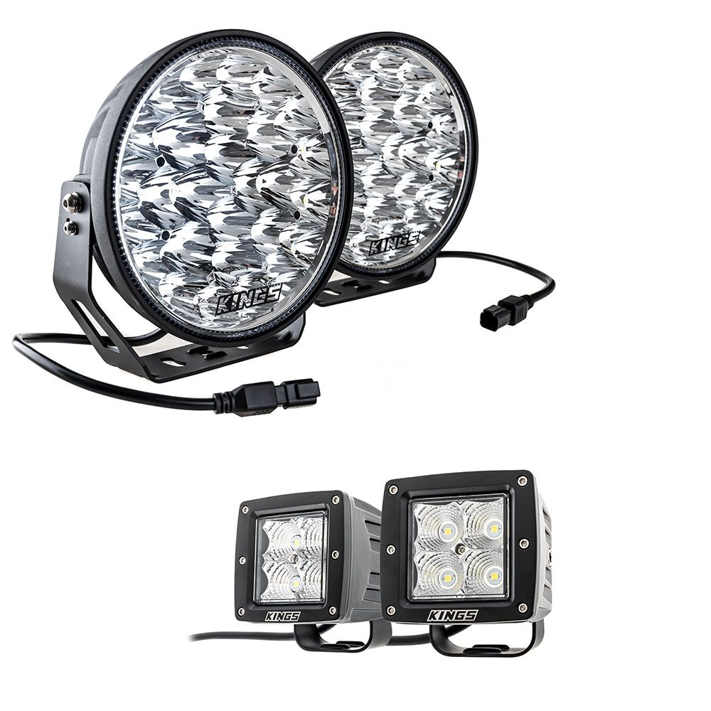 "Adventure Kings Domin8r Xtreme 9"" LED Driving Lights (Pair) + Adventure Kings 3"" LED Work Light - Pair"