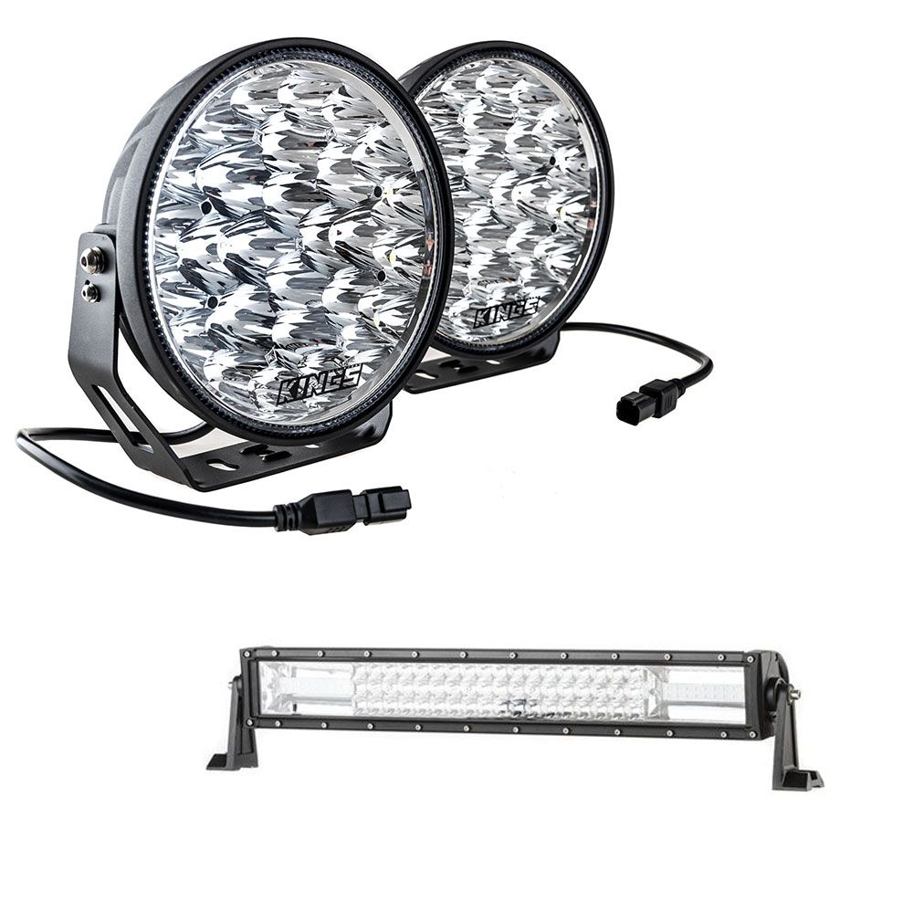 "Adventure Kings Domin8r Xtreme 9"" LED Driving Lights (Pair) + Domin8r 22"" LED Light Bar"