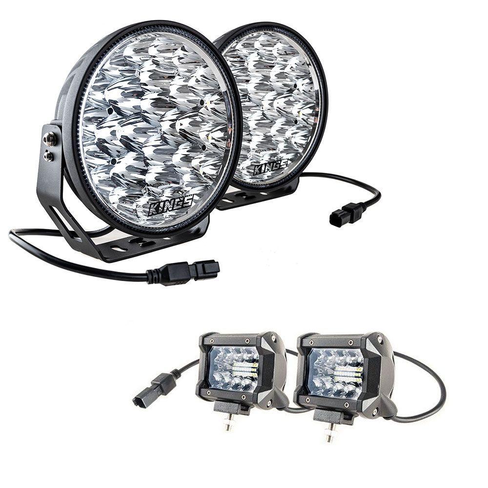 "Adventure Kings Domin8r Xtreme 9"" LED Driving Lights (Pair) + Adventure Kings 4"" LED Light Bar"