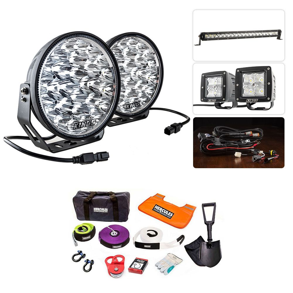 """Adventure Kings Domin8r Xtreme 9"""" Ultimate LED Light Pack + Hercules Complete Recovery Kit"""