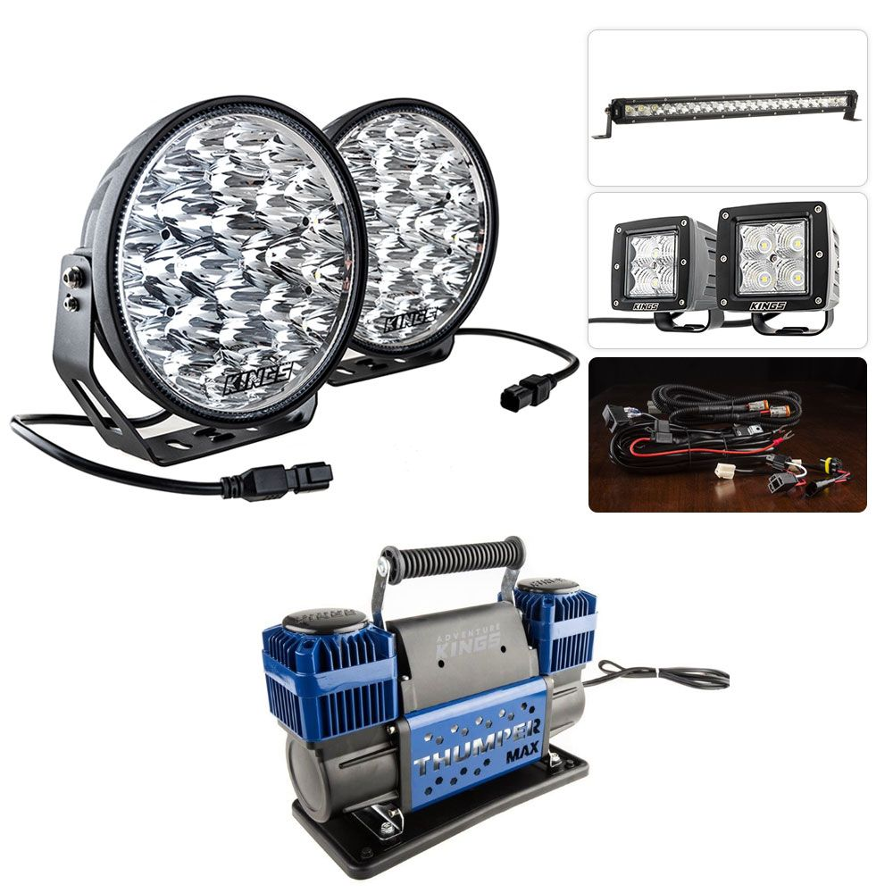 """Adventure Kings Domin8r Xtreme 9"""" Ultimate LED Light Pack + Thumper Max MKII Dual Air Compressor"""
