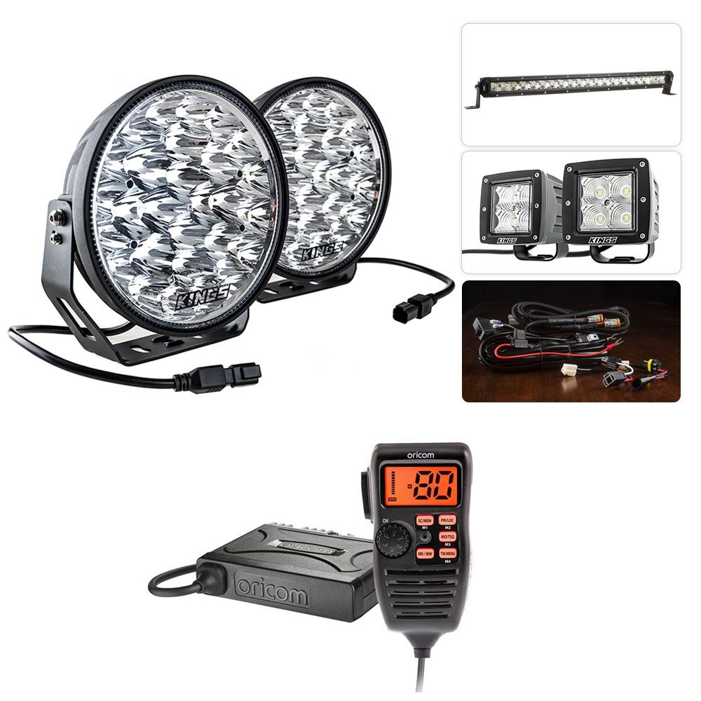 "Adventure Kings Domin8r Xtreme 9"" Ultimate LED Light Pack + Oricom UHF380PK In-Car 5W CB Radio"