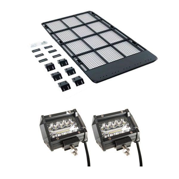 "Kings Steel Flat Roof Rack + 4"" LED Light Bar (Pair)"