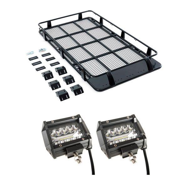 """Full Length Steel Roof Racks + 4"""" LED Light Bar (Pair)"""