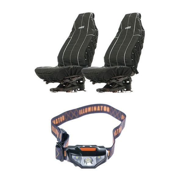 Adventure Kings Heavy Duty Seat Covers (Pair) + Illuminator LED Head Torch
