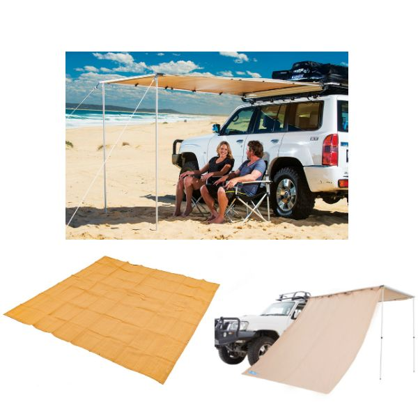 Adventure Kings Awning 2x2.5m + Mesh Flooring 3x3m + Awning Side Wall