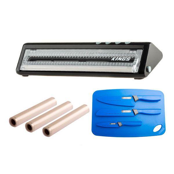 Adventure Kings Vacuum Sealer + Vacuum Sealer Rolls 3-Pack + 4-Piece Camping Chef's Knives Kit