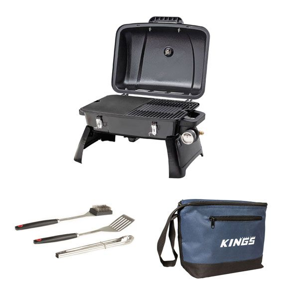 Gasmate Voyager Portable BBQ + Adventure Kings BBQ Tool Set + Adventure Kings Cooler Bag