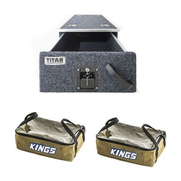 Titan Single Drawer 900mm + 2x Adventure Kings Clear Top Canvas Bag