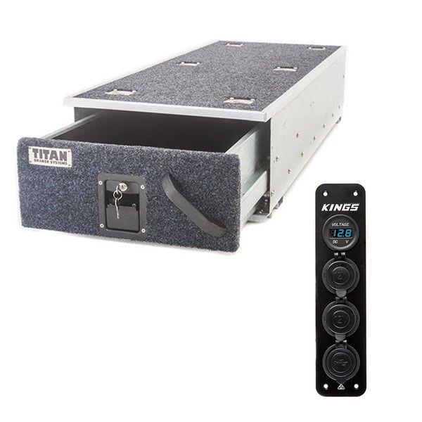 Titan Single Ute Drawer 1300mm + 12V Accessory Panel