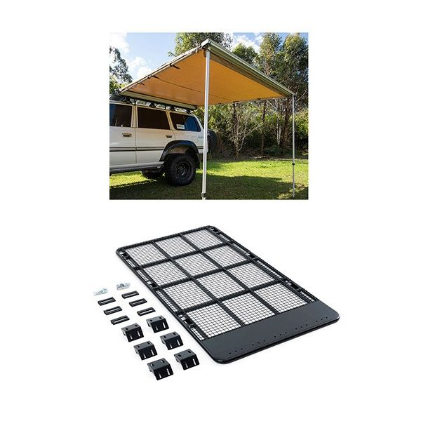 Steel Flat Rack suitable for 200 Series + Adventure Kings Awning 2.5x2.5m