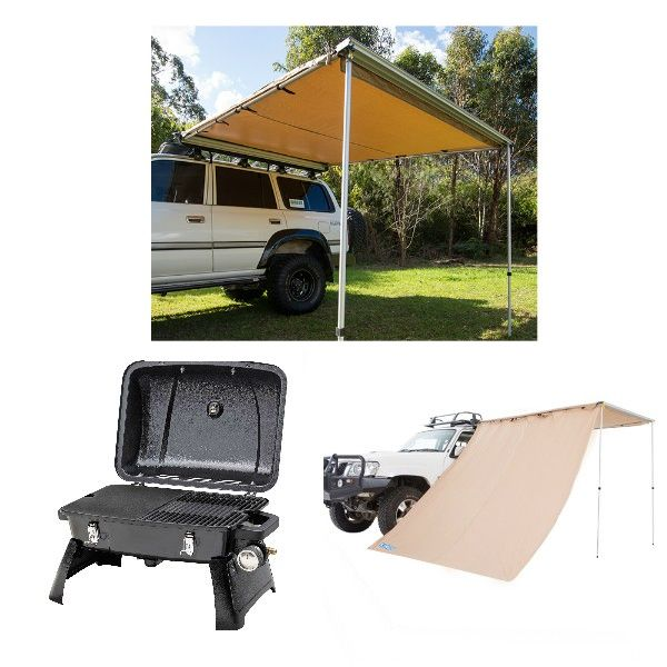 Gasmate Voyager Portable BBQ + Adventure Kings Awning 2.5x2.5m + Adventure Kings Awning Side Wall