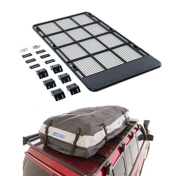 Steel Flat Rack For Gutter Mount Vehicles + Adventure Kings Premium Waterproof Roof Top Bag