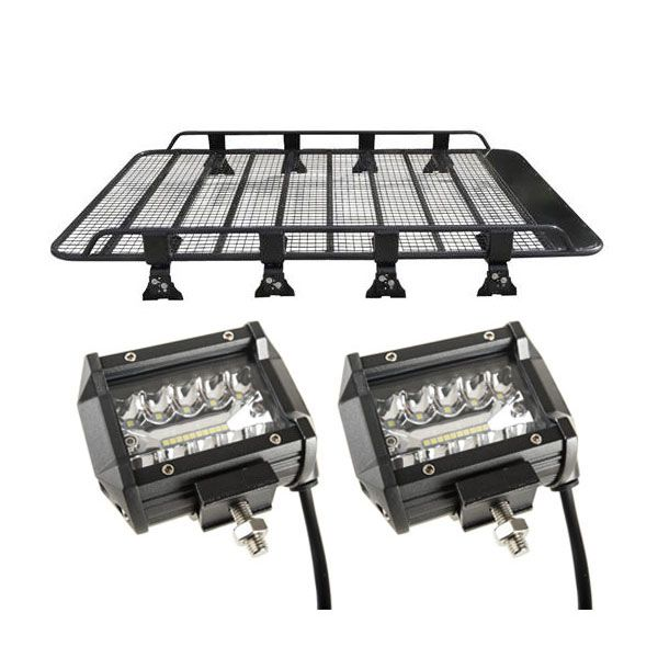 "Steel Tradie Roof Racks + 4"" LED Light Bar (Pair)"