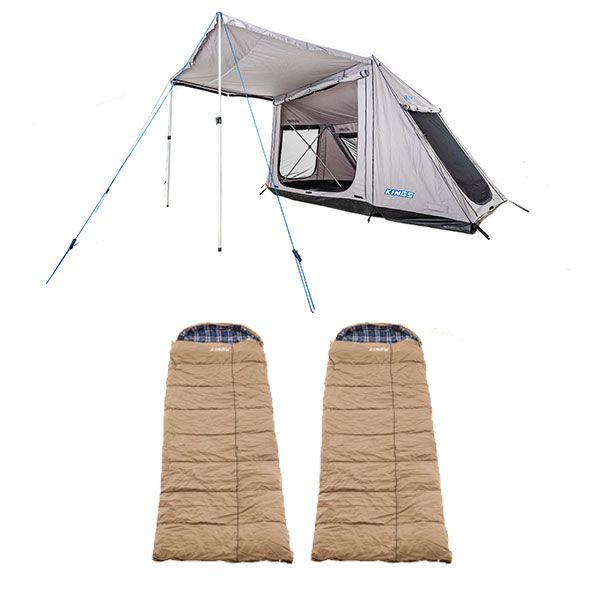 Adventure Kings Swift 5-person Tent + 2x Adventure Kings Premium Sleeping bag -5°C to 5°C Degrees Celsius - Left and Right Zipper