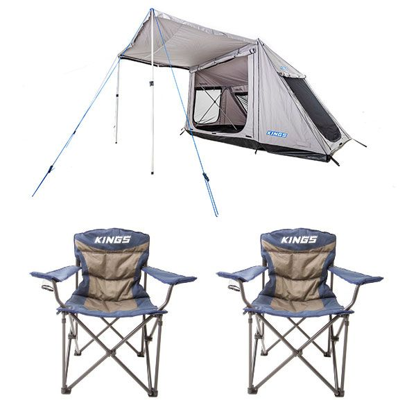 Adventure Kings Swift 5-person Tent + 2x Adventure Kings Throne Camping Chair