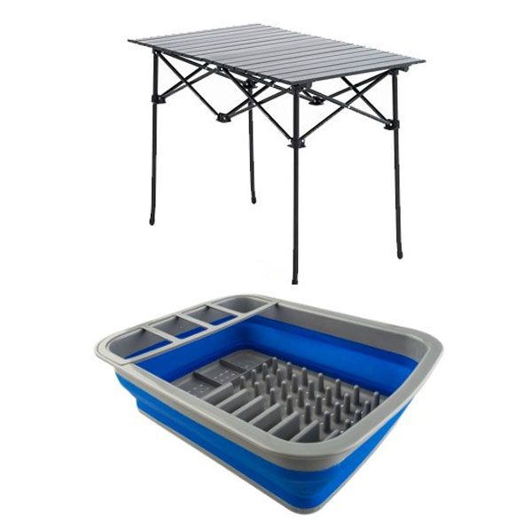 Adventure Kings Aluminium Roll Up Camping Table + Collapsible Dish Rack
