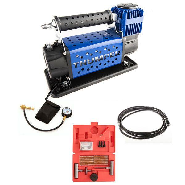 Thumper 12v Air Compressor 160L/M 150PSI + Hercules Tyre Repair Kit + Thumper Air Hose Extension 4m + Tyre Deflator - Kwiky