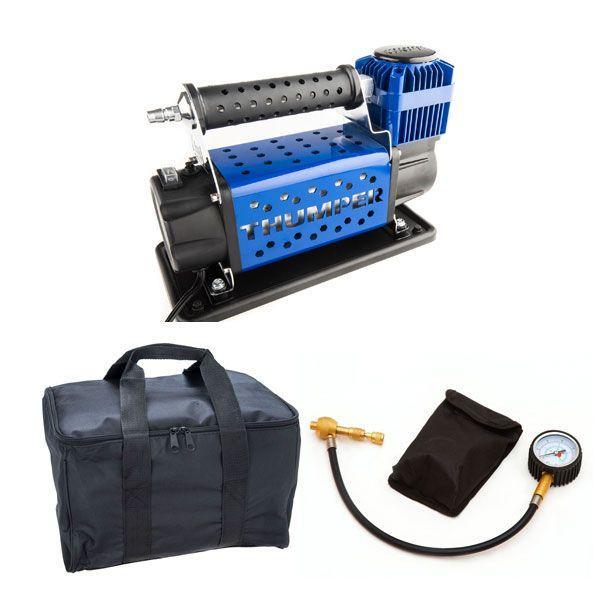 Thumper Air Compressor MkIII + Kings Polyester Air Compressor Bag + Kwiky Tyre Deflator
