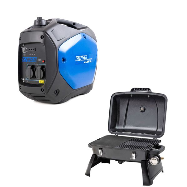 Adventure Kings 2.0kVA Inverter Generator + Voyager Portable Gas BBQ