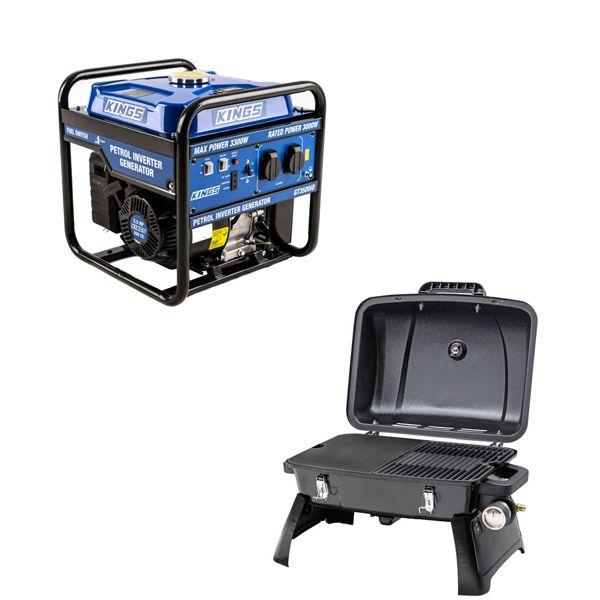 Adventure Kings 3.0kVA Inverter Generator + Voyager Portable Gas BBQ