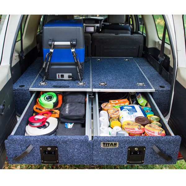 Titan Rear Drawers + Wings Suitable for Nissan Patrol ST-L, Y61 | Incl Fridge Slide