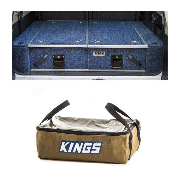Titan Rear Drawer with Wings suitable for Nissan Patrol ST-L, TI + Adventure Kings Clear Top Canvas Bag