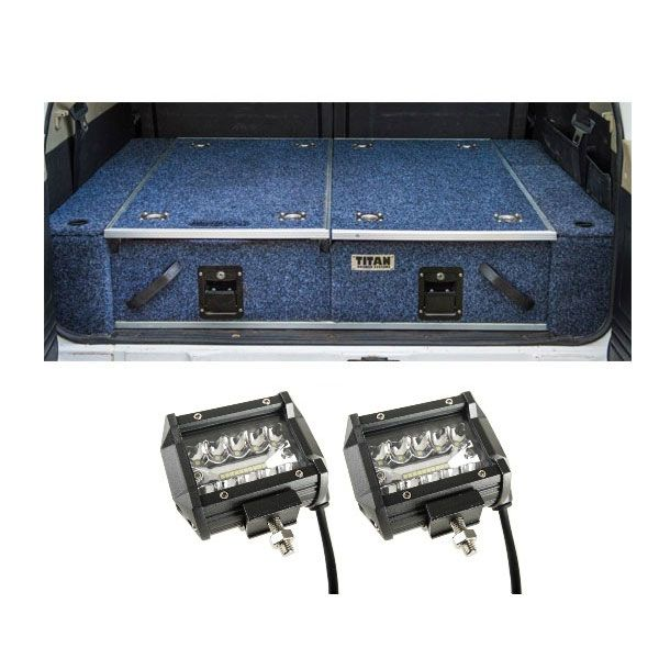 "Titan Rear Drawer with Wings suitable for Toyota Landcruiser 100 Series (GXL 2005+ Air Con in rear) + 4"" LED Light Bar (Pair)"