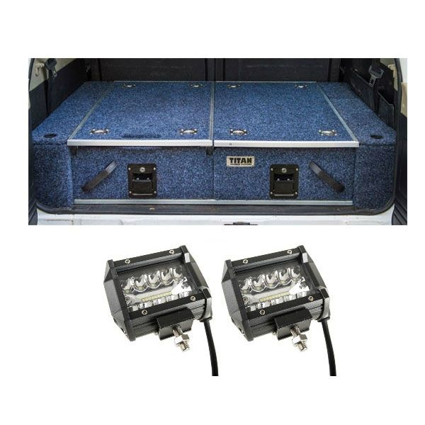 """Titan Rear Drawer with Wings suitable for Toyota Landcruiser 100/105 Series (GX/GXL Sept 1998-2005 No Air Con in rear) + 4"""" LED Light Bar"""