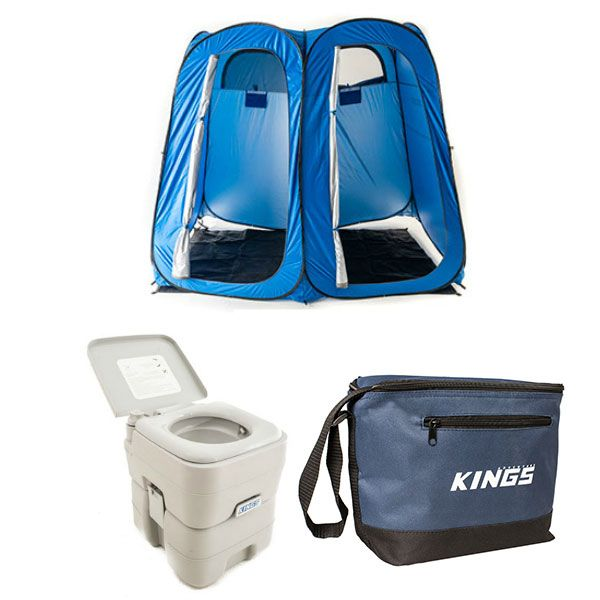 Adventure Kings Portable Camping Toilet + Double Ensuite/Shower Tent + Cooler Bag