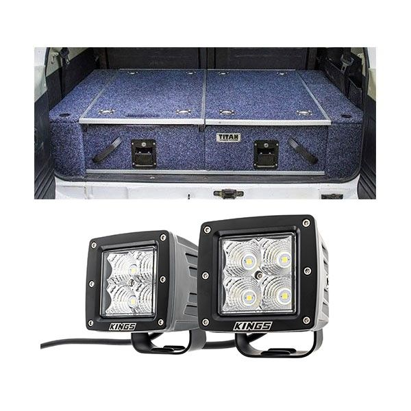 "Titan Rear Drawer with Wings suitable for Toyota Landcruiser 100/105 Series (GX/GXL Sept 1998-2005 No Air Con in rear) + 3"" LED Work Light - Pair"
