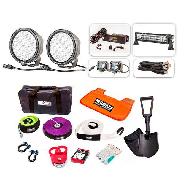 "Ultimate 7"" Driving Lights, 22"" Light Bar & 2x 4"" Light Bar Pack + Hercules Complete Recovery Kit"