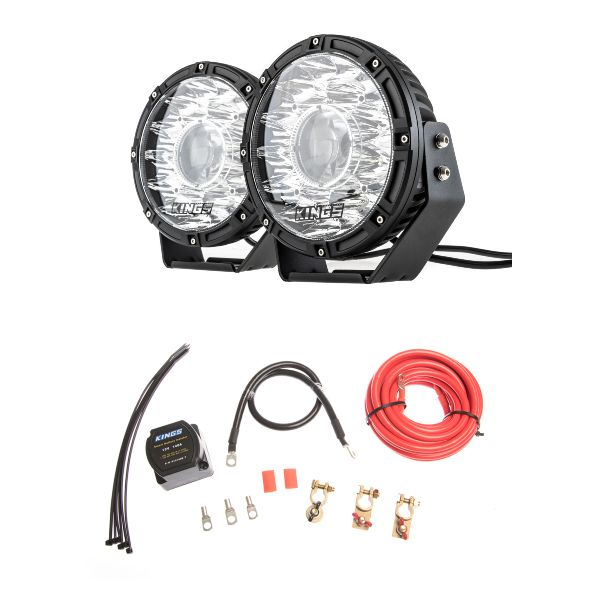 """Kings 8.5"""" Laser MKII Driving Lights (pair) + Dual Battery System"""