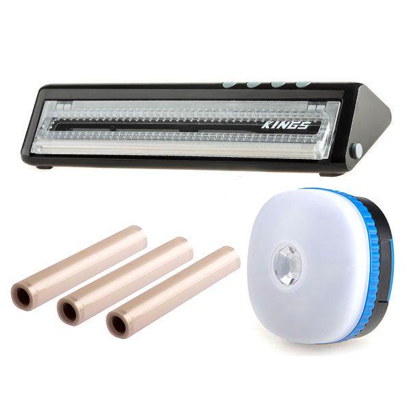 Adventure Kings Vacuum Sealer + Vacuum Sealer Rolls 3-Pack + Mini Lantern