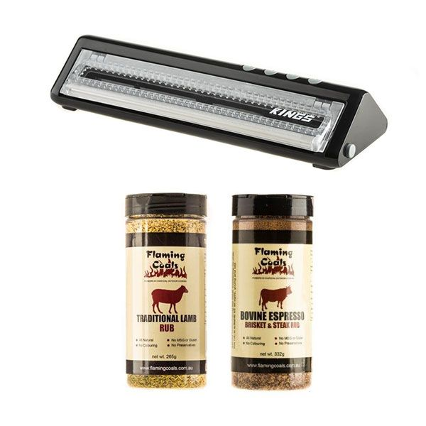 Adventure Kings Vacuum Sealer + Flaming Coals Traditional Lamb Rub + Bovine Espresso Brisket & Steak Rub