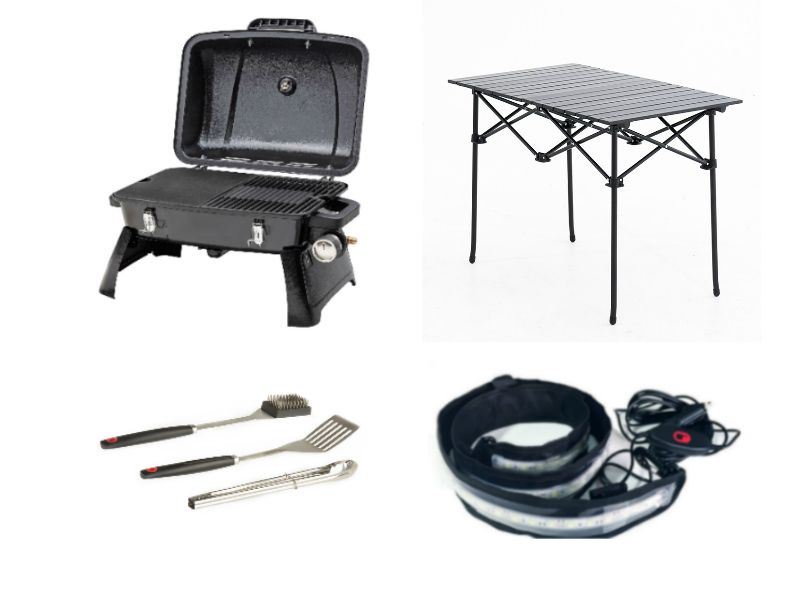 Gasmate Voyager Portable BBQ + Adventure Kings BBQ Tool Set + Aluminium Roll-Up Camping Table + Illuminator MAX LED Strip Light