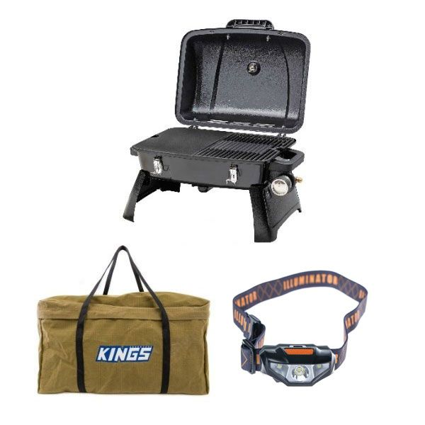 Gasmate Voyager Portable BBQ + Adventure Kings BBQ Canvas Bag + Illuminator LED Head Torch