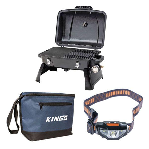 Gasmate Voyager Portable BBQ + LED Head Torch + 8L Cooler Bag