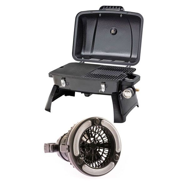 Gasmate Voyager Portable BBQ + 2in1 LED Light & Fan