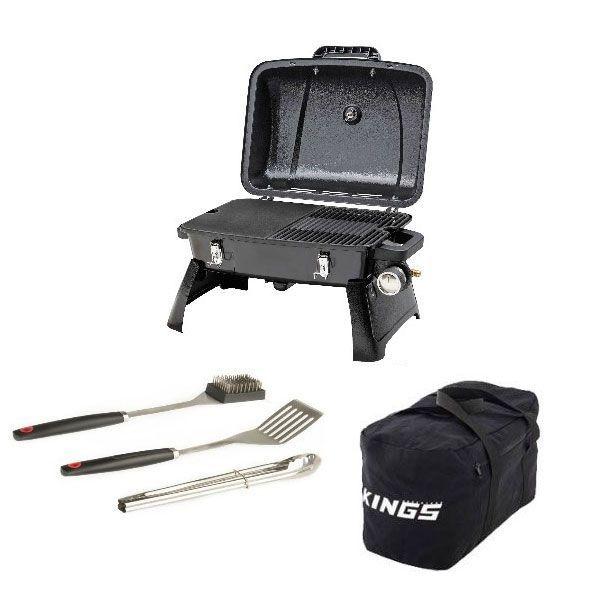 Gasmate Voyager Portable BBQ + Adventure Kings 40L Duffle Bag + BBQ Tool Set