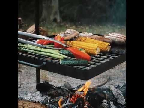 The Adventure Kings Swing BBQ lets you can cook over am open fire without getting ash in your food!