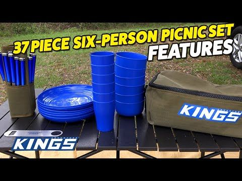 Adventure Kings 37 Piece Six Person Picnic Set Features