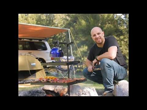 The Adventure Kings Swing BBQ makes cooking at camp so easy!